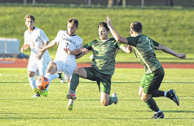 Submitted photo Cedarville University mens soccer team needed double overtime to claim its Great Midwest Athletic Conference season opening win over Tiffin, Sept. 4.